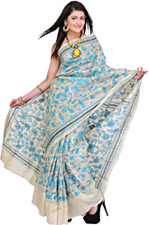Cloud-Cream Kantha Sari from Bengal with Hand-Embroidered Flowers