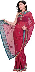 Tibetan-Red Wedding Sari with Zardozi Embrodiered Paisleys