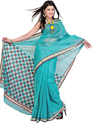Frosty-Green Chanderi Sari with Hand Woven Geographical Weave on Aanchal