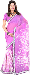 African-Violet Printed Sari with Patch Border