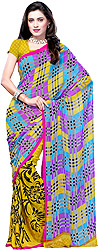 Multi-Color Sari from Surat with Floral Print