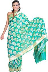 Fluorite-Green Banarasi Sari with Hand-Woven Booties and Plain Border