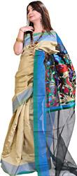 Plain Silver-Gray Banarasi Sari with Designer Kadwa Anchal
