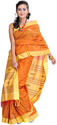 Plain Flame-Orange Handloom Sari from Orissa