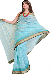 Angel-Blue Doria Sari with Printed Flowers and Gadwal Border