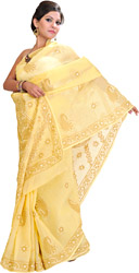 Snapdragon-Yellow Sari from with Lukhnavi Chikan Embroidery by Hand