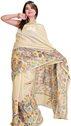 Beige Kantha Sari from Kolkata with Hand Embroidered Birds and Flowers