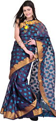Navy-Blue Banarasi Sari with Woven Booties and Brocaded Border