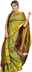 Jellybean-Green Kanjivaram Sari with Brocaded Paisleys and Self Weave