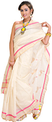 Cloud-Cream Chanderi Sari with Hand-Woven Peacocks on Aanchal