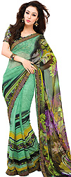 Ming-Green Floral Print Sari from Surat with Patch Border