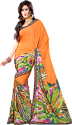 Tangerine-Orange Floral Print Sari from Surat with Patch Border