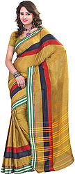 Plain Bronze-Mist Sari with Temple Border