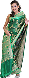 Metallic Green Banarasi Sari with Hand-Embroidered Sequins and Beads