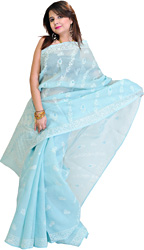 Radiance-Blue Sari with Lukhnavi Chikan Embroidery by Hand