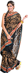 Jet-Black Sari with Crewel Embroidered Flowers and Patch Border
