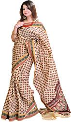 Crème Doria Sari with Woven Bootis