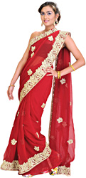 Rio-Red Bridal Sari with Thread Embroidered Flowers and Border