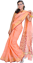 Peach-Pink Chanderi Sari with Hand Woven Flowers on Aanchal