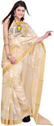 Cloud-Cream Banarasi Sari with Woven Flowers in Golden Thread