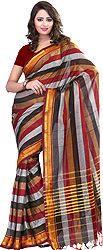 Rainbow Sari with woven Stripes and Temple Border