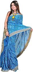Frost-Blue Tie-Dye Bandhani Sari with Hand-Woven Paisleys on Aanchal