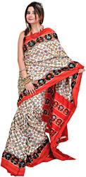Authentic Paan Patola Double-Ikat Sari Hand-Woven in Pochampally