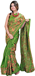 Irish-Green Kantha Sari from Kolkata with Hand-Embroidered Flowers