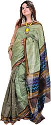 Marine-Green Printed Chanderi Sari from Madhya Pradesh