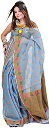 Twilight-Blue Chanderi Sari with Jute Weave on Anchal