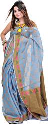 Twilight-Blue Chanderi Sari with Jute Weave on Anchal