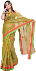 Macaw-Green Chanderi Sari with All-over Woven Leaves