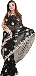 Jet-Black Designer Wedding Sari with Silver Embroidery in Metallic Thread