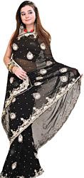 Jet-Black Designer Wedding Sari with Silver Embroidery in Metallic Thread