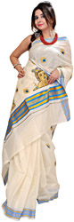 Winter-White Kasavu Sari from Kerala with Embroidered Baby Krishna on Aanchal