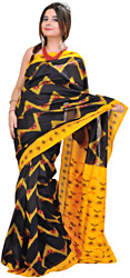 Black and Yellow Patola Sari from Pochampally with Ikat Weave