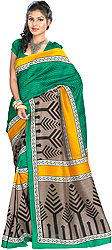 Tri-color Sari from Surat with Stylized Printed Trees