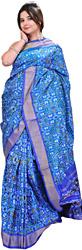 French-Blue Paan Patola Sari Hand-Woven in Pochampally Village