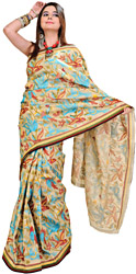 Cloud-Cream Kantha Sari from Kolkata with Hand Embroidered Birds and Patch Border