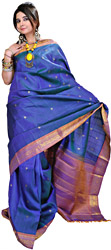 Brilliant-Blue Kanjivaram Sari with Woven Flowers in Golden Thread