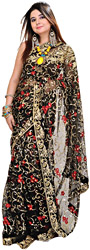 Jet-Black Wedding Sari with Embroidered Sequins and Flowers