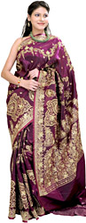 Pansy-Purple Bridal Sari with Embroidery in Metallic Thread and Beads