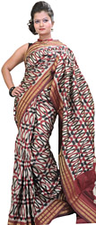 Steel-Gray Ikat Sari Hand-Woven in Pochampally with Giant Chakra on Anchal