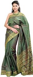 Vineyard-Green Baluchari Sari from Bengal Depicting Mythological Episodes from Ramayana