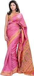 Moonlite Mauve Baluchari Sari with Hand-Woven Dancing Apsaras on Aanchal