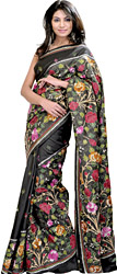 Jet-Black Kantha Sari from Bengal with Hand-Embroidered Flowers