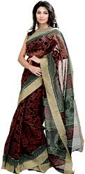 Black and Red Printed Chanderi Sari from Madhya Pradesh