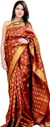 Rio-Red Kanjivaram Bridal Sari with All-Over Woven Leaves