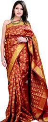 Rio-Red Kanjivaram Bridal Sari with All-Over Woven Leaves