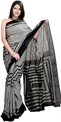 Black and Gray Sari from Pochampally with Ikat Weave